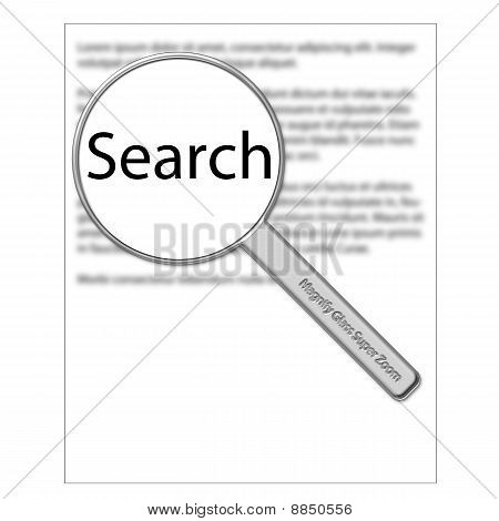 Magnify glass hoovering above a document