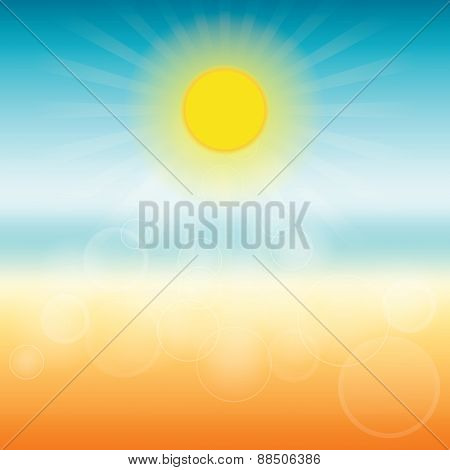 Blurred Summer Background. Sun Shines Brightly.