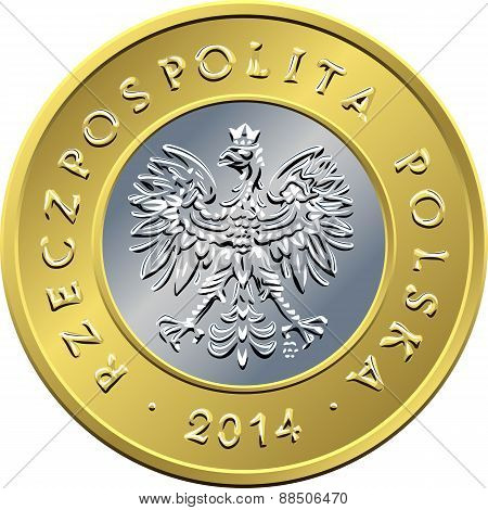obverse Polish Money two zloty coin