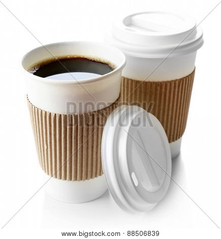 Paper cups of coffee isolated on white