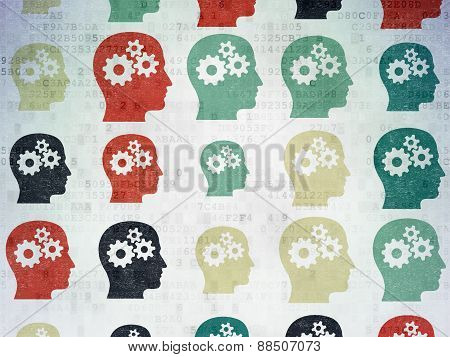Information concept: multicolor Head With Gears icons on digital background