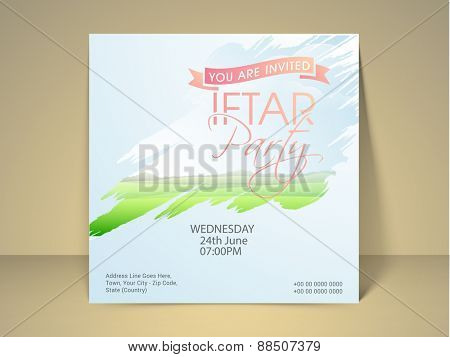 Beautiful invitation card design for holy month of prayer, Ramadan Kareem Iftar party celebration.
