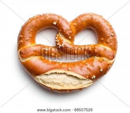baked pretzel on white background