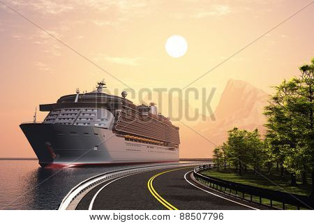 Cruise ship and highway at sunset.