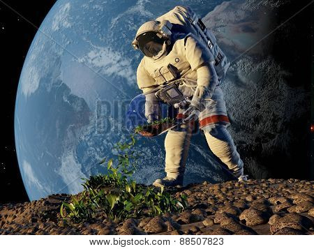 Astronaut planting grass on the planet..
