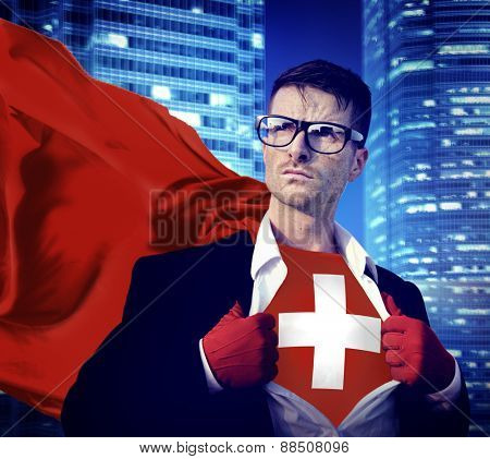 Businessman Superhero Country Switzerland Flag Culture Power Concept