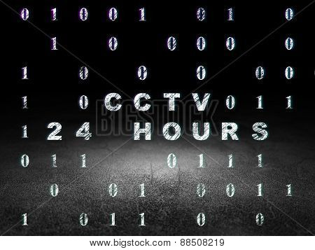 Privacy concept: CCTV 24 hours in grunge dark room