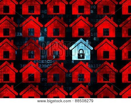 Privacy concept: blue home icon on Digital background
