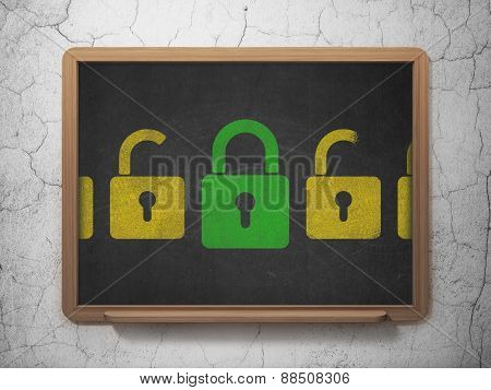 Privacy concept: green closed padlock icon on School Board