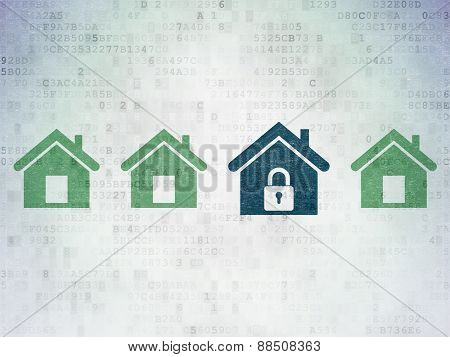 Protection concept: blue home icon on digital background