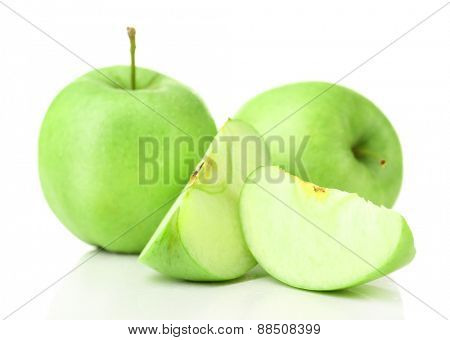 Sliced apple isolated on white