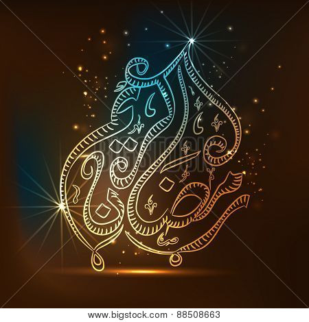 Shiny colorful arabic calligraphy text Ramadan Kareem on brown background for islamic holy month of prayer celebration.