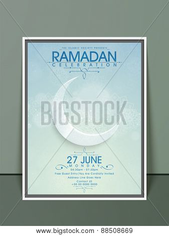Ramadan Kareem, Iftar party celebration invitation card with floral decoration and crescent moon.