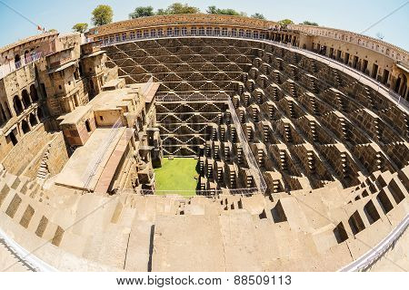 Fisheye image of Giant stepwell inrajasthan, india