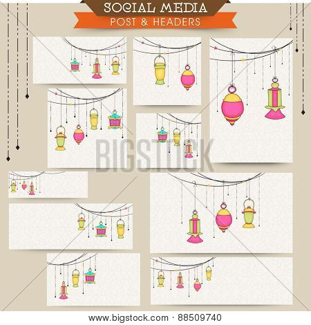 Social media posts, ads, headers or banners with colorful arabic lamps or lanterns for holy month of muslim community, Ramadan Kareem celebration.