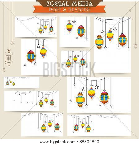 Social media and marketing headers, posts, ads or banners with colorful hanging lanterns or lamps for holy month of muslim community, Ramadan Kareem celebration.