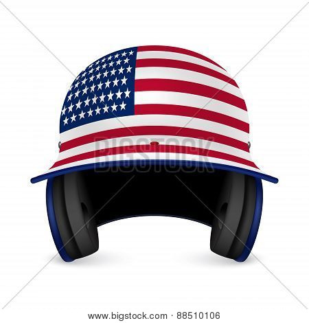 Patriotic Baseball Helmet - Us Flag