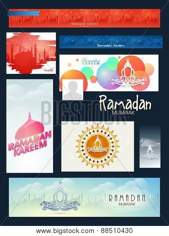 Colorful creative social media and marketing headers, posts, ads or banners for holy month of muslim community, Ramadan Kareem celebration.