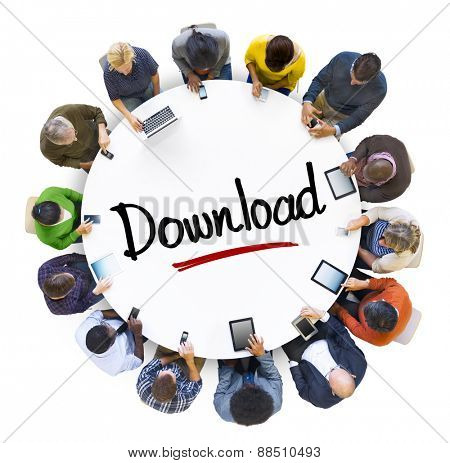 Multi-Ethnic Group of People and Downloading Concepts