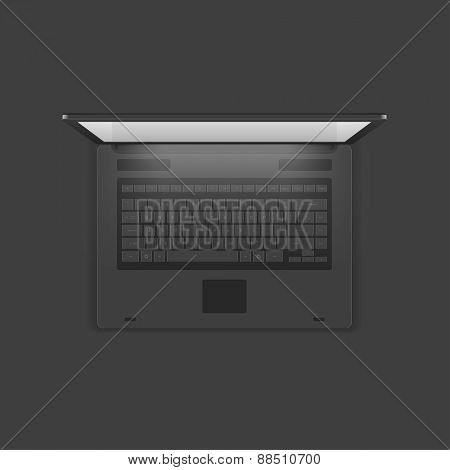 Laptop computer top view vector Illustration.