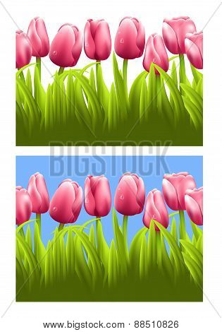Horizontal seamless background with tulips.
