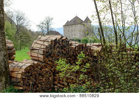 Firewood Stack With A Background  Castle