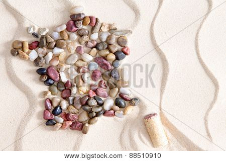 Map Of France From Colorful Waterworn Pebbles