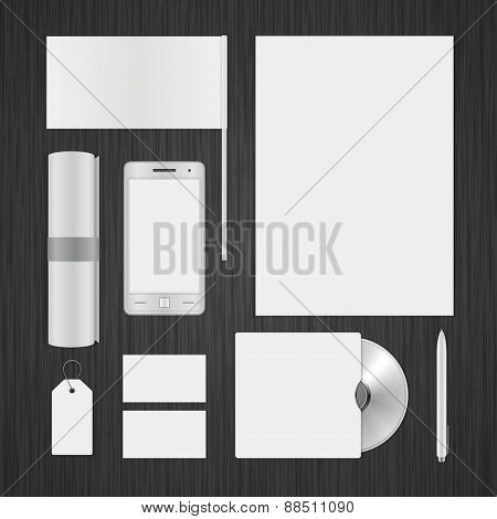White Logotype presentation corporate identity template Mock up design elements. Vector Business stationery objects, document, business card, flag, cd, pen and other.