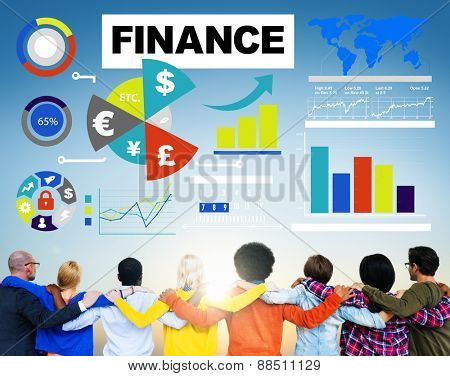 finance bar graph chart investment money business concept