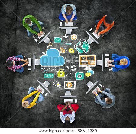 Diversity Casual People Cloud Computing Computer Communication Concept