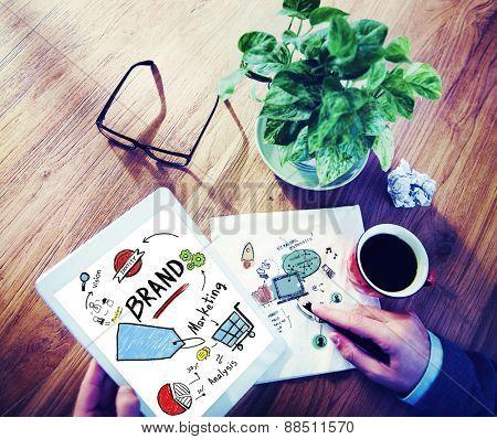 Businessman Digital Tablet Planning Marketing Brand Concept