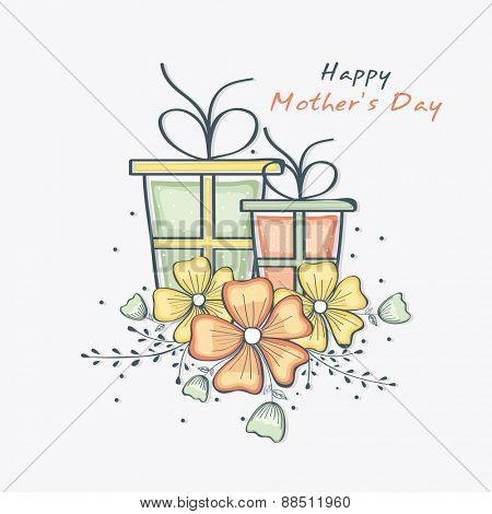Happy Mother's Day celebration greeting card with colorful flowers and gifts on white background.