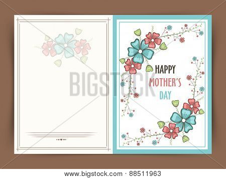 Happy Mother's Day celebration greeting card decorated by colorful flowers and space for your wishes.