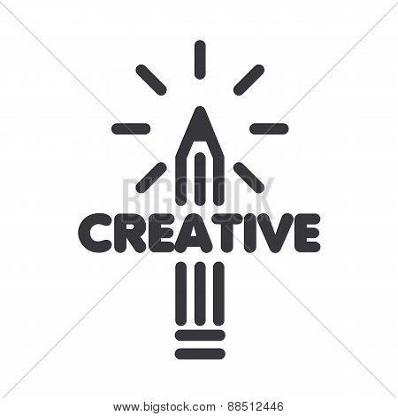 Vector Logo Pencil Art With Rays