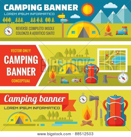 Summer camping - mountain expedition adventures - vector decorative banners set in flat style design