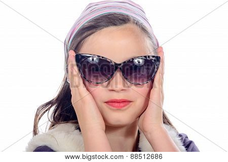 Portrait Of A Pretty Little Girl With Sun glasses
