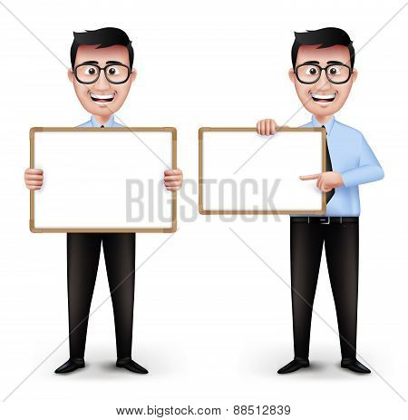Set of Realistic Smart Professor or Business Man Characters