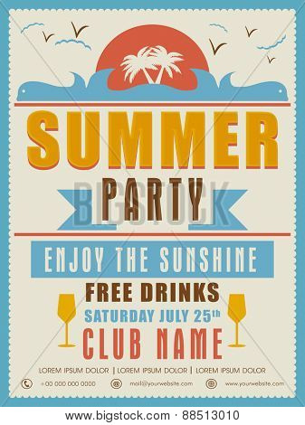 Vintage Summer Party invitation card design with details.