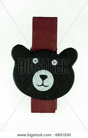 Wooden Bear Clipper With Isolated White