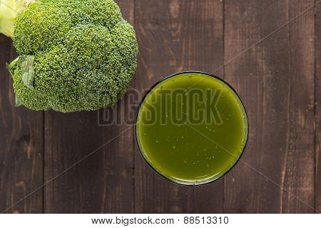 Broccoli Juice On Wood Table.