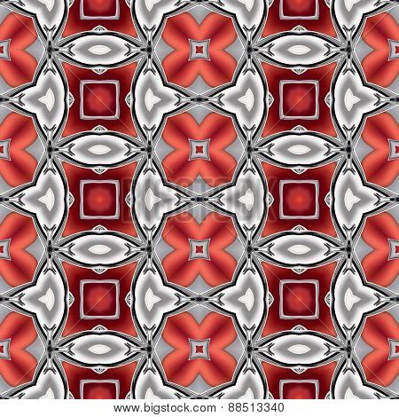 Abstract Silver Red Chrome Metallic Geometric Texture Or Background Made Seamless