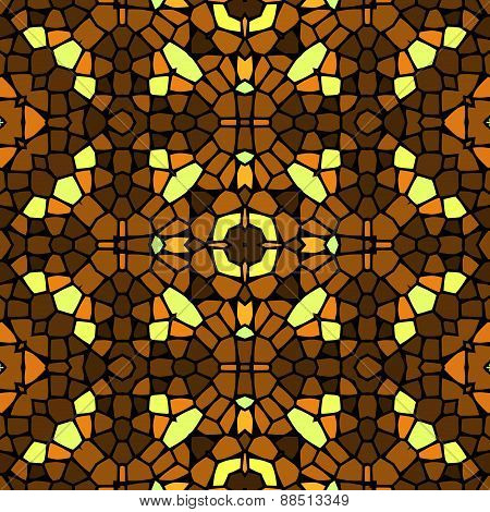 Seamless Kaleidoscopic Mosaic Yellow-brown Tile Pattern