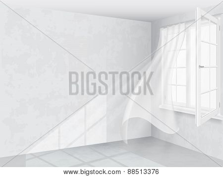 Window And Curtains In Bright Interior
