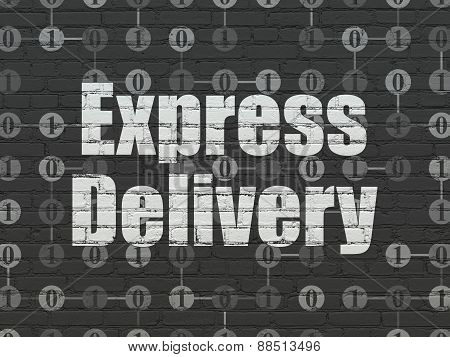 Finance concept: Express Delivery on wall background