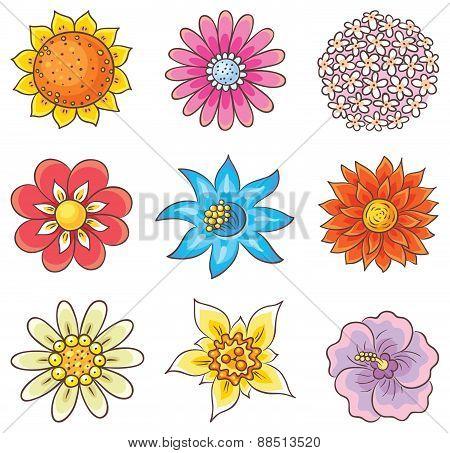 Cartoon Hand Drawn Flowers