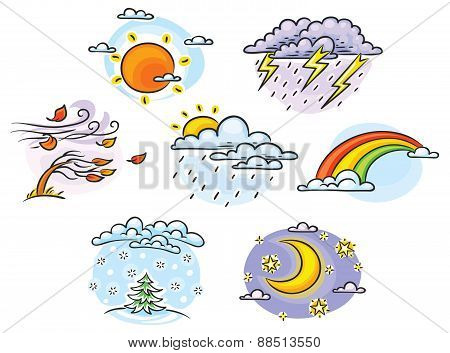 Cartoon Weather Set