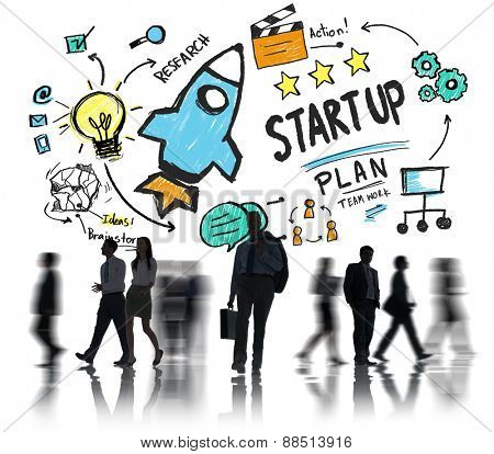 Start Up Business Launch Success Business Commuter Concept