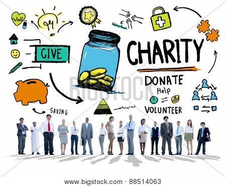 Business People Corporate Give Help Donate Charity Concept