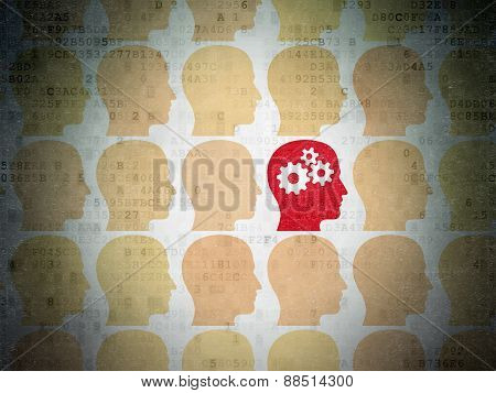 Business concept: red head with gears icon on digital background