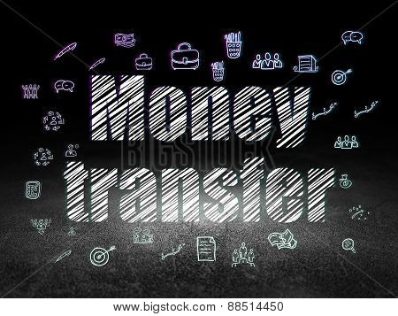 Finance concept: Money Transfer in grunge dark room